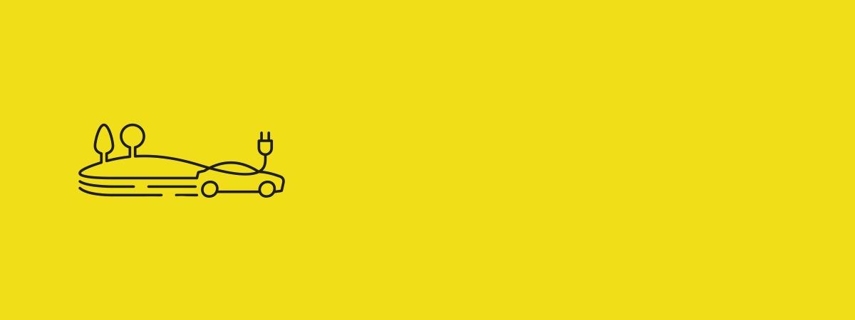 Banner in Gelb mit Logo BDEW Aktionstag der Elektromobilität - Fährt ins Grüne