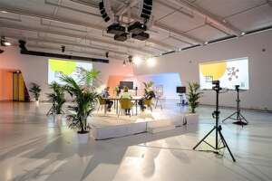 Live streaming Studio set-up - white with palms