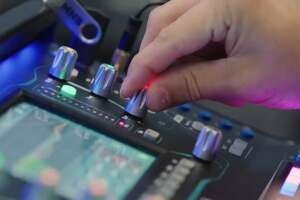Video streaming control desk close-up