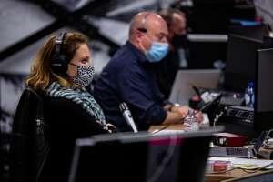 Livestream technicians at control desk