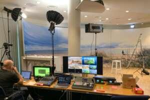 Video live streaming technician at control desk